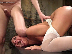 FILTHY BASEMENT SLAVE SLUT continuously pulverized BY five COCKS!