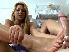 Hungarian girl gets off on using her feet to caress a fuck pole