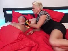 German mom Mandy Mystery wakes up son with blowjobs