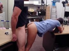 Desperate nurse boned by excited pawn man at the pawnshop