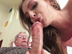 Kinky babe Maya Kendrick takes old pecker in both holes