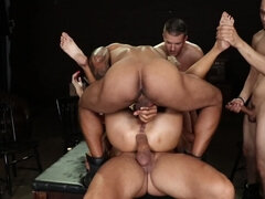 Bunch of hung dudes are destroying one babe with hard cocks