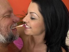 A grandpa that loves sexy sluts with hot asses is kissing this one