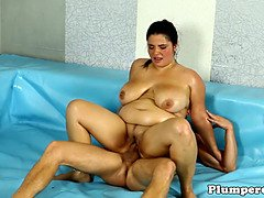 Curvy plumper grappling and smoking cock