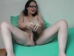 Sabine playing with her big dildo