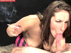 Paige Turnah smoking all white 120s and giving a superb oral job