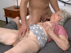 Slutty grandmother Norma B gets her hairy snatch drilled
