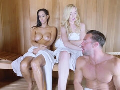 Brunette fucked a guy in the sauna