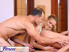 FitnessRooms Yoga dolls get creampied in a yoga class
