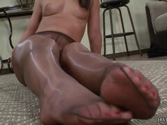 Mischa Brooks posing solo - sexy legs and sexy feet - nylon pantyhose fetish