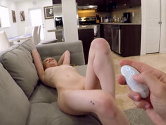 Paris White has her boyfriend use a remote controlled vibrator on her and make her cum