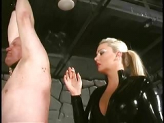 Blond dominatrix smoking