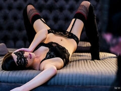 Glamorous Czech babe Candice Luca gets bound and cum covered