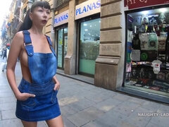 Naughty Russian MILF upskirts & flashing outside in Barcelona, Spain - Big natural tits