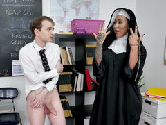 Lusty nun Lily Lane squirts holy water to save naughty pupils