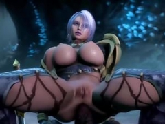 Large boobs 3D babe fucked by various toons
