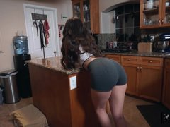 Lucky daddy fucked his son's slutty GF in the kitchen