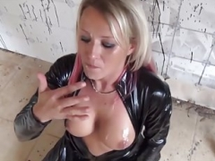 Floozy With Blonde And plus Red Hair In Black Latex Cat Suit Fucked