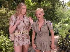 Busty Fornication: Lesbian Soldiers Go Wild in the Wild