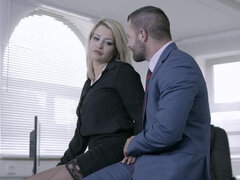 Blonde woman likes sex in the office