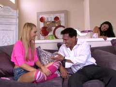 Babysitter Carmen Callaway seduced by the excited couple