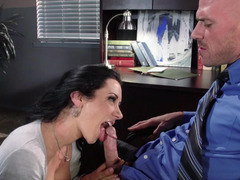 A sexy secretary is in the office, giving head a big dick