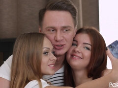 Russian Teens Threesome Orgy - Beautiful FFM With Mouth Cumshot