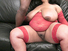 bbw interracial sex with huge-chested plumper in undergarments
