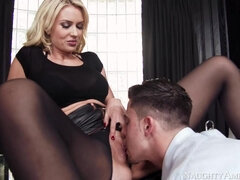 Bossy mature bitch Gigi Allens dominates and fucks young boy in office