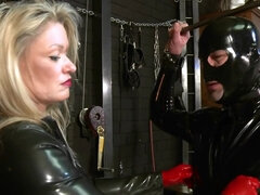 Spandex Mistress Teaches her Love Glove Victim