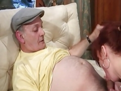 Non-pro rotund french redhead floozy banged by an old lad