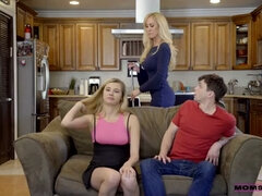 Family threesome with step mom Brandi Love and step sister Carolina Sweets