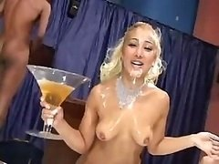 Brazilian blondie gets an unbelievable messy bukkake treatment