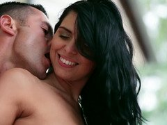 Young and fresh couple prefers copulation in the romantic environment