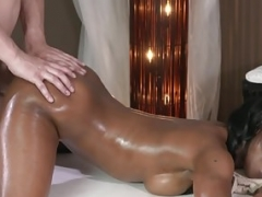 Oiled ebony massage gal asslicked sixtynine