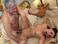 Mature fucker shows 18-19 y.o. slut what a actually sex action is