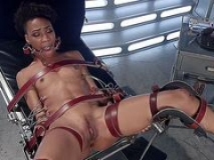 Big-breasted patient whips tooshie to ebony doctor