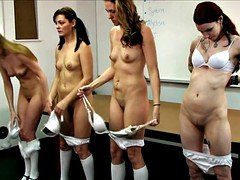 Undressed school girls strapping