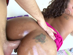 Ebony broad with fine natural tits gets a white dude to lick them