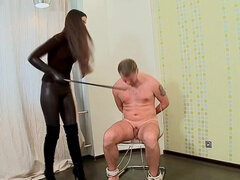 Sleeping slave bondage tied to a chair got nipple tortured & used as an ashtray