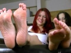 Catherine Foxx and plus Luna Vera in Foot Tickle Contest