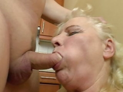 Boobalicious Hungarian Granny Kitti fucks in the kitchen