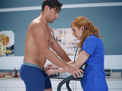 Red-haired doctor Lauren Phillips runs sexual tests with Ryan Driller