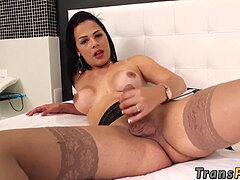 buxomy sweetheart Bruna Castro likes playing with her huge cock