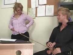 Blonde office dame in white stockings rides his big rod