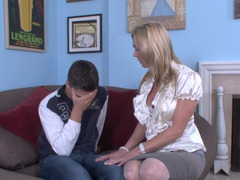 Blonde gets her panties removed by her son in law and besides she is humped