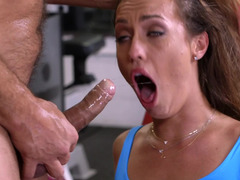 A brunette is spanked in the gym and plus she is getting anally fucked