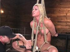 Boobalicious bondage sexually available mom flogged after pussytoying