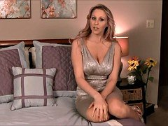 Incredibly hot blonde sexually available mom in a dress shows her twat