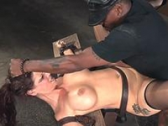 Breasty MILF facefucked during BDSM scene